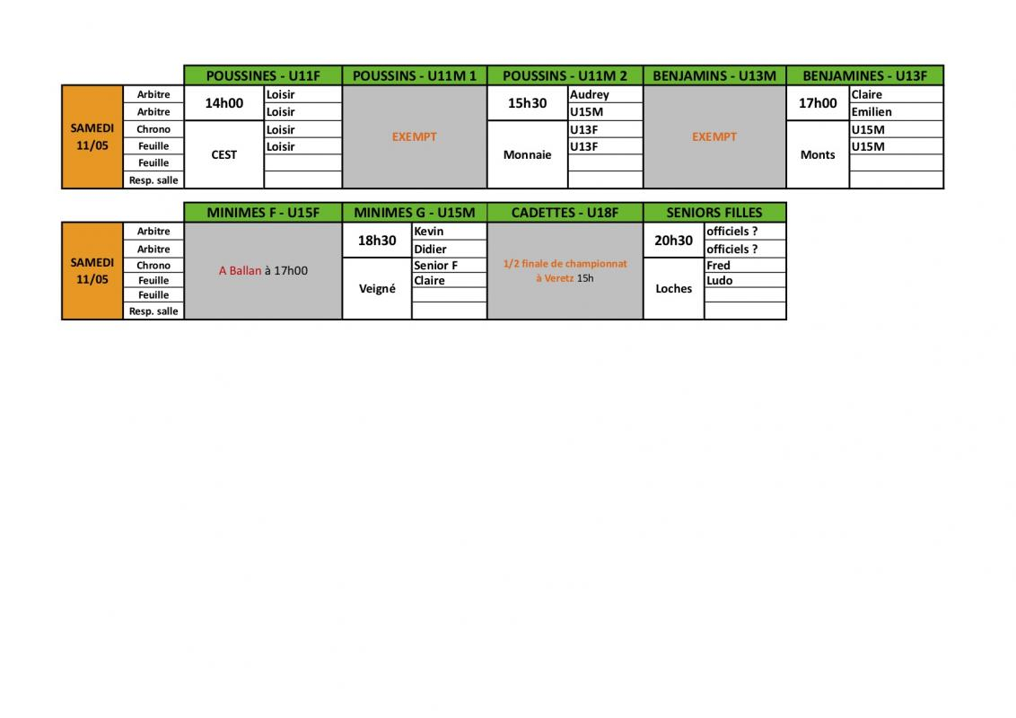 Planning 11mai