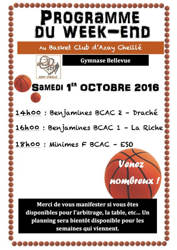 Calendrier rencontres basket